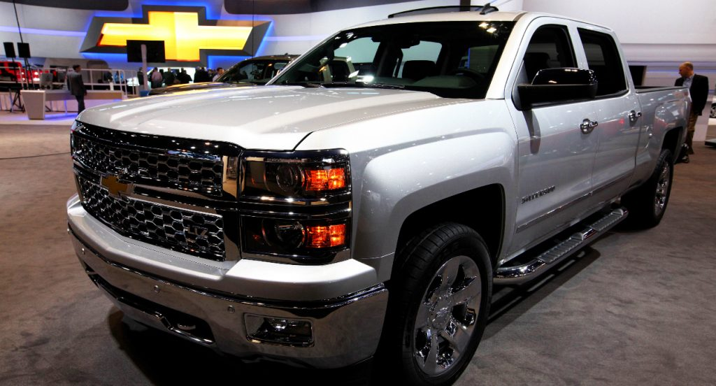 A gray Chevrolet Silverado, at the 106th Annual Chicago Auto Show, at McCormick Place in Chicago, Illinois.