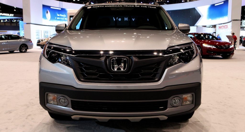 A gray Honda Ridgeline is on display at the 109th Annual Chicago Auto Show at McCormick Place in Chicago, Illinois on February 10, 2017.