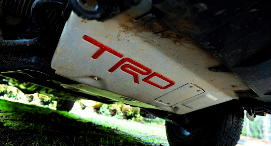 The Toyota Tacoma TRD Pro's white skid plate.
