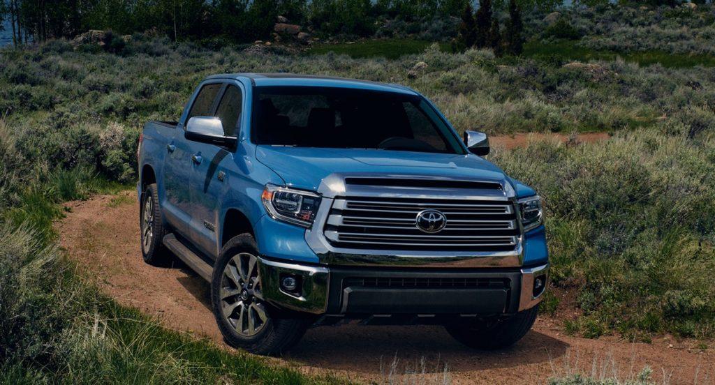 A blue 2022 Toyota Tundra.