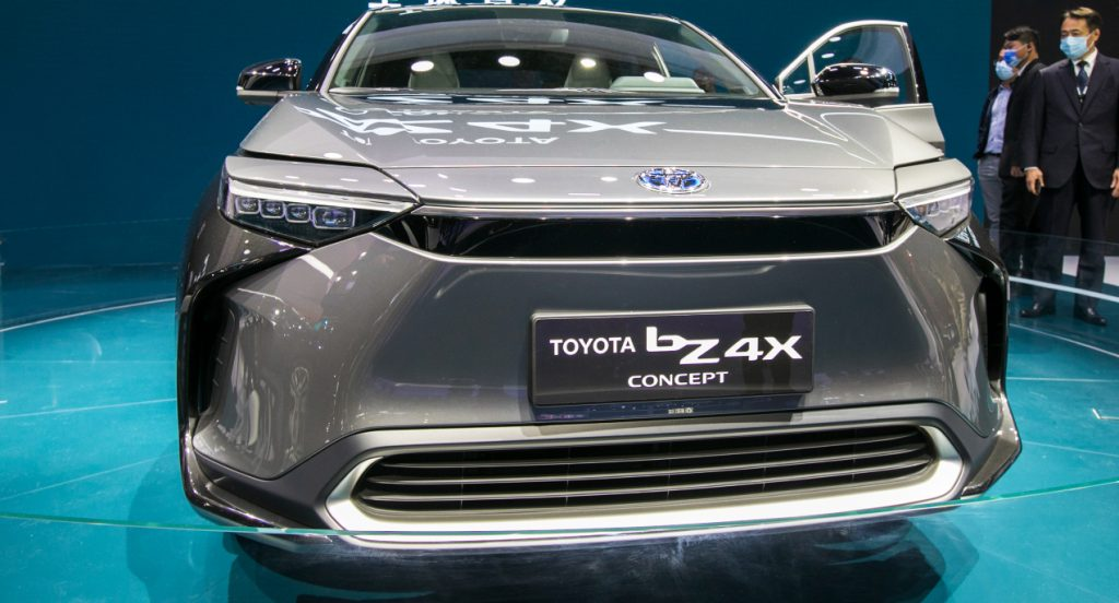 A gray Toyota bZ4X SUV is on display during the 19th Shanghai International Automobile Industry Exhibition (Auto Shanghai 2021) at National Exhibition and Convention Center