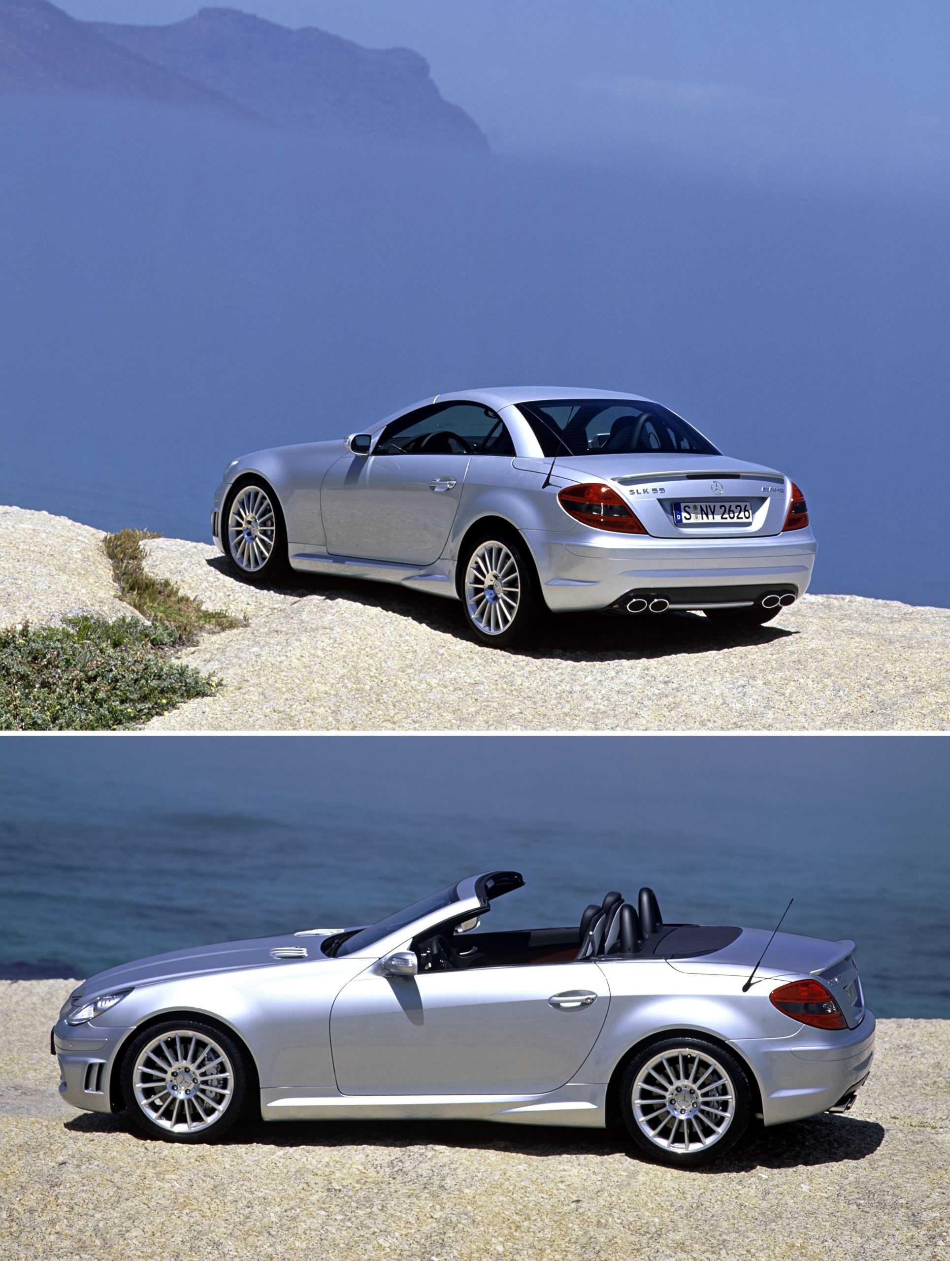 A silver Mercedes-Benz SLK55 AMG with the top open, shot in profile by the seaside