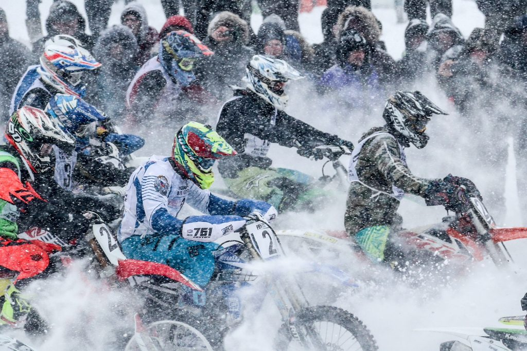 Motorcycle riders compete in the Valery Chkalov Cup motocross race at an off-road circuit in the town of Mytishchi. Sergei Savostyanov/TASS