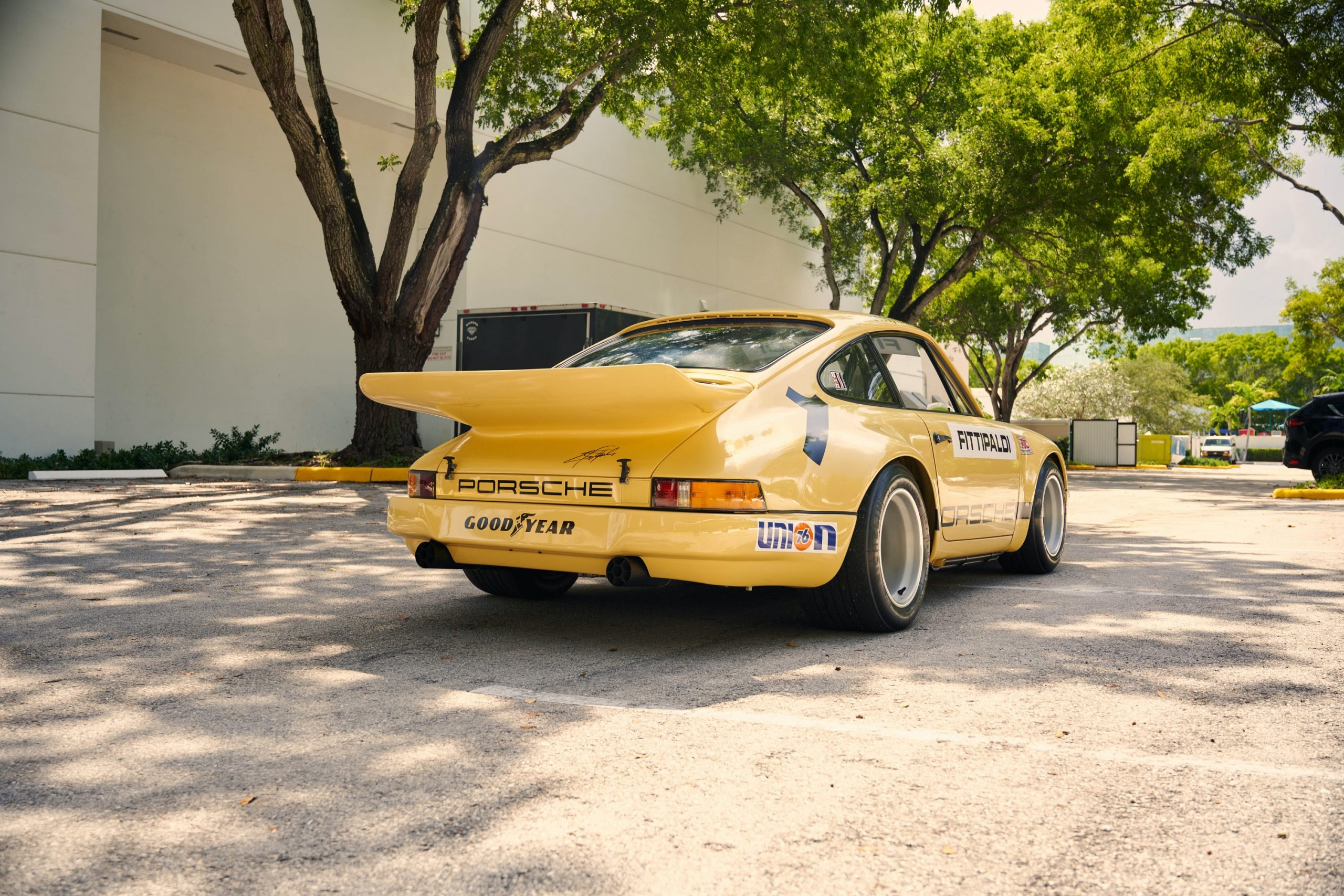 The rear of the Porsche 911 RSR race car owned by Pablo Escobar