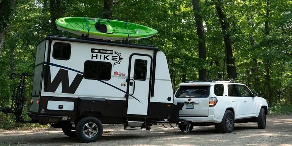 The Winnebago Hike 100 being towed behind a 4Runner shows that it is one of the best small campers to tow behind small trucks and SUVs